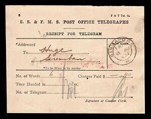 "1934 SS & FMS Post Office Telegraphs receipt with ""SINGAPORE H "" d/r cds."