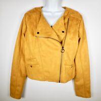 Haute Monde Womens L Mustard Faux Suede Cropped Moto Jacket Zipper Vegan NWT