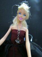Barbie Blonde Hair Long Black & Gold Floral Evening Dress & Gold high heel Shoes