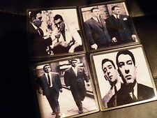 SET OF 4     KRAY TWINS ASSORTED     DRINK COASTERS  HAVE A DRINK ON THE TWINS !