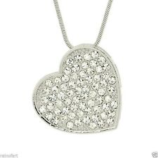 """W Swarovski Crystal Clear Heart Pendant Gift Love New Necklace 18"""" Chain"""