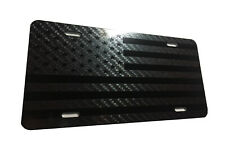 Tactical American Flag Heavy Duty Aluminum License Plate Carbon Fiber Black
