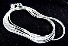 "Sterling 925 Silver 2mm Flat Snake Chain 18"" Necklace Lobster Clasp"