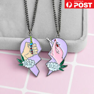 2PC Best Buds Best Friend Necklace Pendant Set Funny Novelty Gift Weed Jewellery