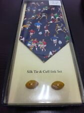 New Silk Rugby Tie & Cuff Links Set Great Gift RRP £19.95
