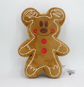 """Disney Gingerbread Man New limited 12.5"""" Christmas Pillow Plush Mickey Mouse"""