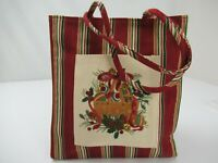 """Longaberger Holiday Gift Bag Lunch Tote Red Striped Christmas 9"""" x 8"""""""