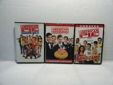 3 DVD'S - AMERICAN PIE -  AMERICAN WEDDING  , BAND CAMP  & NAKED MILE - MINT EC