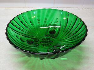 """Anchor Hocking Forest Green Oyster & Pearl Bubble Footed Bowl 8"""" x 3"""""""