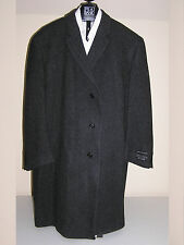 $495 New Jos A Bank Merino wool charcoal  pattern  3/4 length topcoat  40 L