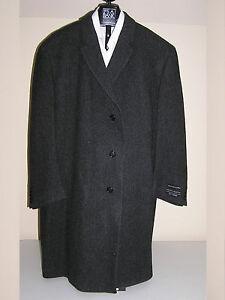 $495 New Jos A Bank Merino wool charcoal  pattern  3/4 length topcoat  40 L