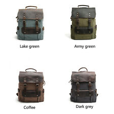 Vintage Canvas Backpack Laptop Travel Rucksack Satchel Shoulder Hiking Carry Bag