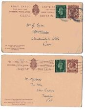 1933 H&B Cp93 Used Outward & Inward Kgv 1.5d Brown L15 Ps Reply Postcard Uprated