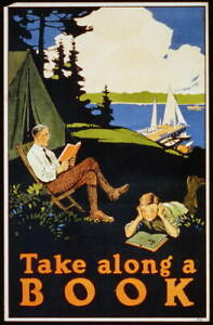 """8"""" x 10"""" 1910 Take Along a Book,Father & Son Reading While Camping Out"""