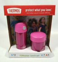 Thermos FUNtainer Kids Lunch Set Pink 12 oz Bottle/ 10 oz Food Jar FREE SHIP