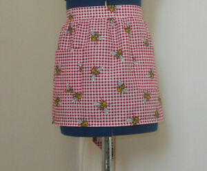 Childs 'Bees on Red Gingham' (Mini Length) Half / Waist Apron 100% Cotton