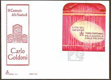Vatican City Sc# 1356, Birth of Carlo Goldini sheetlet, First Day Cover