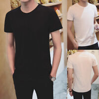 Men V-neck T-shirt Tops Tee Short Sleeve Sports Bottoming Solid Casual Summer