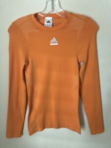 Adidas Tech Fit Pro Running Orange Compression Longsleeve Men's Size S Small
