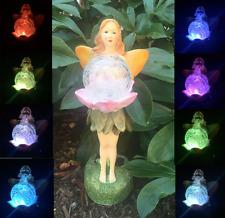 Solar Garden Decor Fairy Glass Flower Statue Outdoor Patio Path Lawn LED Light