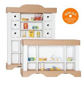 Polly Kinderkaufladen Kaufmannsladen aus Karton inkl 20 Miniaturen für Kaufladen