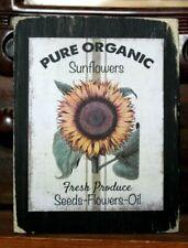 Sunflowers Pure Organic Seeds Oil Wooden Farmhouse Shelf Sitter Block 3.5X4.5