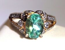Shimmering! Natural Colombian Emerald and Diamond 10K Gold Ring Size 7
