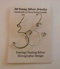 Mi'kmaq Earrings Sterling Silver Hieroglyphic Design Handmade NWT