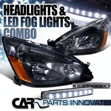 For 2003-2007 Honda Accord 2/4Dr JDM Crystal Black Headlights+8-LED Fog Lamp
