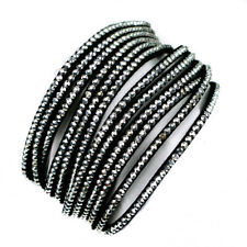 Crystal Multilayered Studded Bracelet Wrap Faux Leather Wrap-Around Wristband