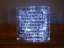 Serenity prayer, glass block light sign saying nightlight