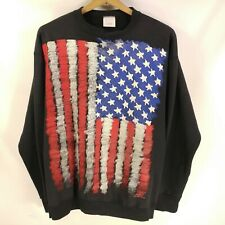 "Vtg 90s Wild Oats Big USA Flag 2 Sided America 3D Style Sweatshirt Lg 46"" Chest"