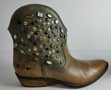 """Lucky Brand """"Chelsea"""" Brown Leather Sahara Jewel Studded Ankle Boots Size 7.5"""