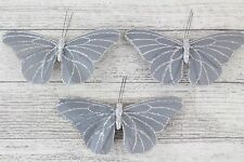 3 Large Satin Fabric & Glitter Butterflies Butterfly Florist Wire Wedding Cakes Grey / Silver