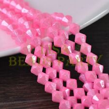 New 100pcs 4mm Bicone Silver Foil Faceted Glass Loose Spacer Beads Light Pink