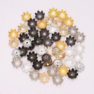 8/10 mm 100pcs Metal Lotus Flower Loose Spacer Beads Cap For DIY Jewelry Making