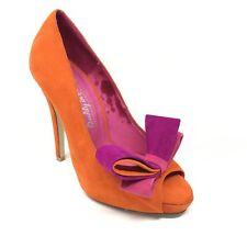 Women's Jeffrey Campbell Garret Pump Heels Shoe Size 4.5M Orange Purple Pink AB9