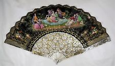 ***** Exquisite Antique Gold Hand-Painted Paper and Mother of Pearl Fan *****