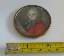 18th C Antique Miniature Portrait Painting of a Young Male SIgned Jullien Lachou