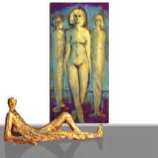 PAINTING LARGE # ABSTRACT ORIGINAL ART GOLDEN LIFESIZE NUDE BLUE GOLD * 78 x 40