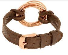 Bronzo Italia Rolling Circle Station Leather Strap Bracelet