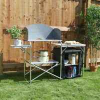 CAMPING KITCHEN UNIT STAND TABLE CUPBOARD SHELVES OUTDOOR COOKING HOB STOVE Wido