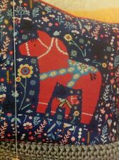 (G) Scandi Folk Art Dala Horse Horses Cushion Cover Cross Stitch Chart