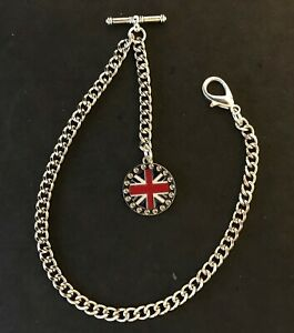 Silver colour Albert pocket watch chain with an enamel union jack fob