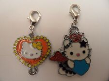 LOT 2 CHARMS BRELOQUE A FERMOIR METAL ARGENTE HELLO KITTY ORANGE BLEU - BIJOUX