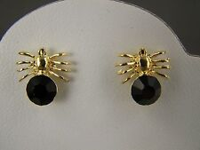 """Black crystal Gold tone spider arachnid bug insect stud post earrings 1/2"""" tall"""