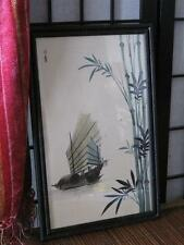 """Old Chinese Painting  """"Junk and Bamboo""""  Signed by the Artist, wonderful Frame"""