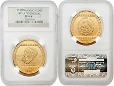 Mexico 1993 Hacha Cermonial 100 Nuevo Pesos 1 oz Gold NGC MS68