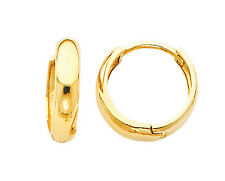 14k Real Yellow Gold 3mm Thickness Small Huggies Earrings for Kids & Teens