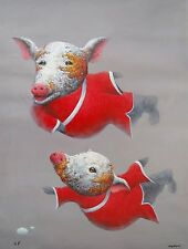 "WANG ZHIWU ""ZEN PIG"" Hand Signed Large Embellished Giclee Art on Canvas"